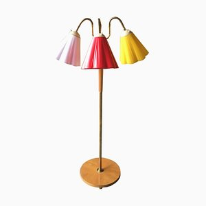 Swedish Floor Lamp with 3 Plastic Shades, 1960s