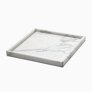 Bandeja cuadrada de mármol de Carrara blanco de Fiammettav Home Collection