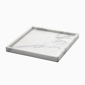 Squared White Carrara Marble Tray from Fiammettav Home Collection