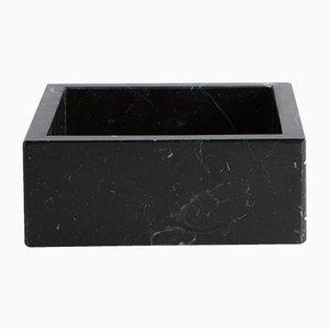 Caja cuadrada de mármol negro Marquina pequeña de Fiammettav Home Collection