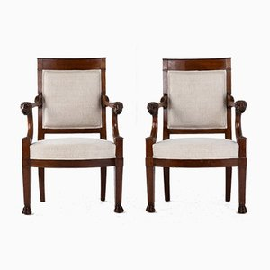 19th Century Empire French Armchairs with Lion Heads, Set of 2