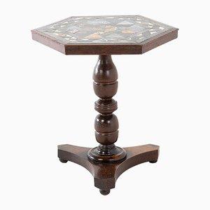 Englischer Eichenholz Konsolentisch mit Marmorplatte, 19. Jh