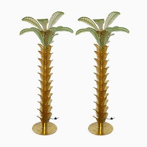 Italian Murano Glass and Brass Palm Tree Floor Lamp, 1990s