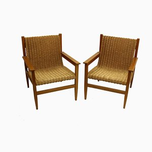 Mid-Century Rattan Armchairs by Uluv, Set of 2