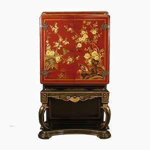 Italian Lacquered Chinoiserie Bar Cabinet, 1960s