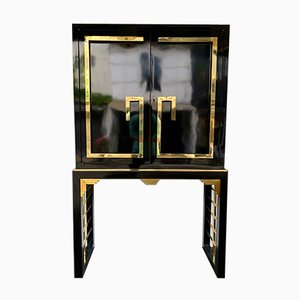 Italian Lacquered Cabinet with Brass and Mirror, 1970s