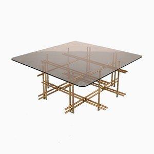 Table Basse en Verre et en Laiton, Italie, 1960s