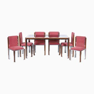 Mid-Century Italian Chrome and Wood Dining Table & Chairs Set, Set of 7