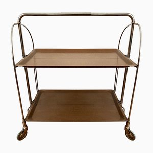 Dinette Serving Trolley in Chrome with Brown Trays, 1970s