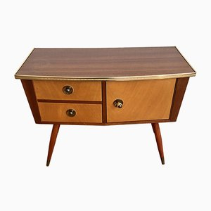 Wood Chest with 2 Drawers & Cupboard Compartment, 1970s