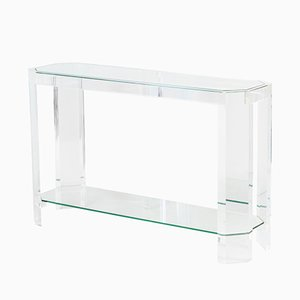 Table Console en Lucite Transparente, 1970s