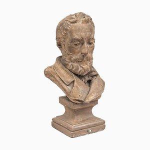 Busto de terracota con figura de un hombre, 1878