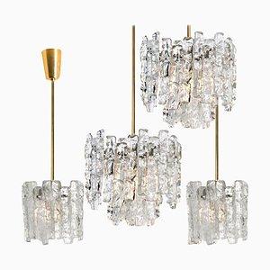 Moderne Messing Hängelampe aus Eisglas von JT Kalmar, 1960er