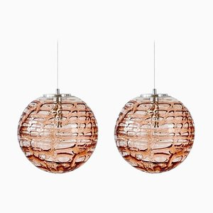 Rosa Murano Glas Hängelampen im Stil von Venini, 1960er, 2er Set