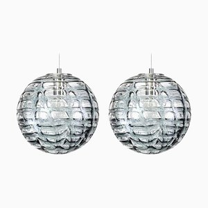 Graue Murano Glas Hängelampen im Stil von Venini, 1960er, 2er Set