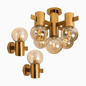 Brass and Glass Light Fixtures Hans-Agne Jakobsson, 1960s, Set of 3