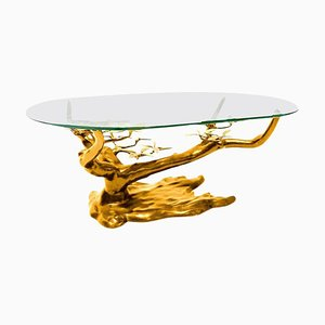 Large Brass Coffee Table in the Style of Willy Daro, Belgium, 1960s