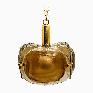 Brass, Brown Glass & Blown Murano Glass Pendant Light, 1960s