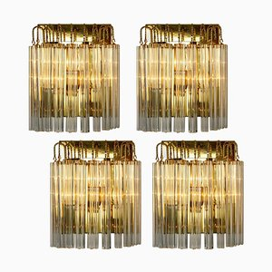 Murano Glass and Gilt Brass Sconce in the Style of Venini, Italy, 1970s