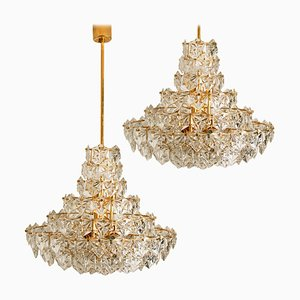 Fontain-Shaped Faceted Crystal 5-Tier Chandeliers by Kinkeldey, 1969, Set of 2