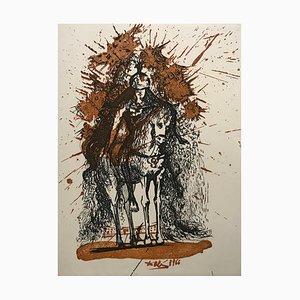 Le Cavalier Casqué aux Papillons Engraving by Salvador Dali, 1970s