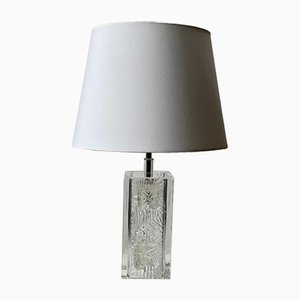 Clear Glass Squared Table Lamps by Pukeberg, Set of 2