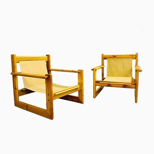 Vintage Safari Pine Armchairs, Set of 2