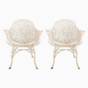 Lackierte Gartenstühle aus Schmiedeeisen, 1950er, 2er Set