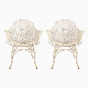 Painted Wrought Iron Garden Armchairs, 1950s, Set of 2