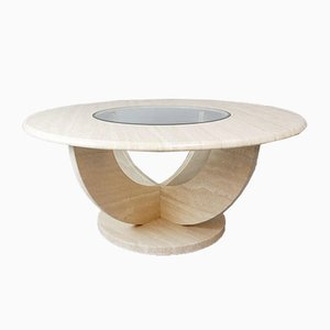 Round Travertine & Glass Coffee Table, 1970s