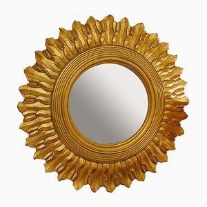 Large Gold Wood Sunburst Mirror, 1970s