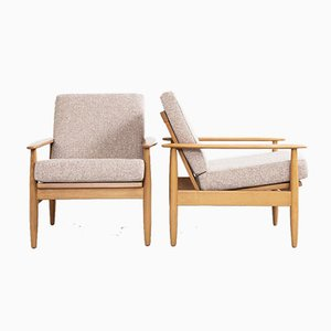 Mid-Century Danish Easy Chairs in Beech and Fabric, 1960s, Set of 2