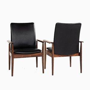 Stühle aus Schwarzem Leder & Palisander mit Hoher Rückenlehne von Finn Juhl für France & Søn, 1960er, 2er Set
