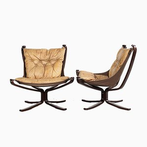 Low Back Falcon Chairs in Leather by Sigurd Ressell for Vatne Möbler, 1970s, Set of 2