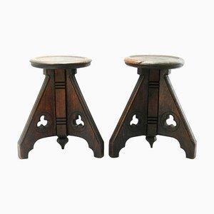 Französische Gotische Eichenholz Hocker oder Beistelltische, 19. Jh., 2er Set
