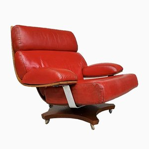 Mid-Century Housemaster Red Leather Swivel Lounge Chair from G-Plan
