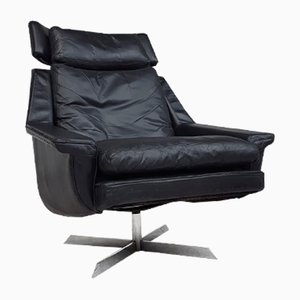 Mid-Century Danish Leather Swivel Chair by Werner Langenfeld for ESA