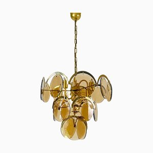 Mid-Century 3-Tier Brass and Glass Chandelier from Vistosi, 1960s