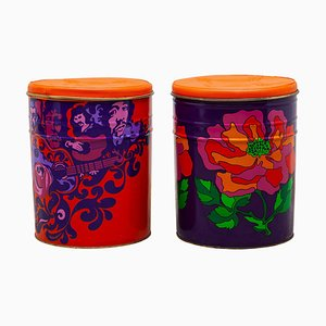 Pop-Art Flower Power Stools, 1968, Set of 2