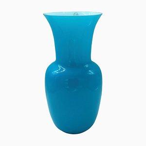 Vaso vintage in vetro opalino color acquamarina di Paolo Venini, anni '90