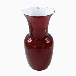 Vintage Opaline Glass Vase in Red by Paolo Venini, 1990s