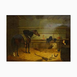Antique English Stable with Horse Oil Painting from John Frederick Herring Sr, 1840s
