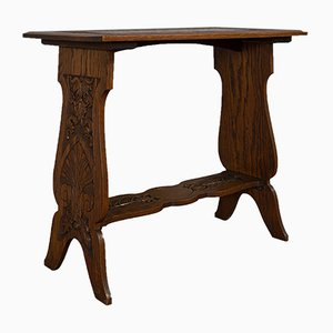 Antique Edwardian Italian Carved Oak Side Table, 1910s