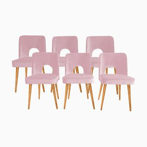Baby Pink Shell Dining Chairs by Lesniewski for Slupskie Fabryki Mebli, 1960s, Set of 6