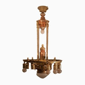 Antique Two-Tone Copper Wheel Chandelier