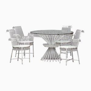Weiß Lackiertes Cap D'Ail Garten Set aus Schmiedeeisen von Mathieu Matégot für Atelier Matégot, 1950er, 5er Set