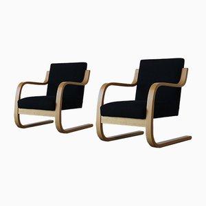 Fauteuils, Modèle 402, par Alvar Aalto pour Artek, 1960s, Set de 2