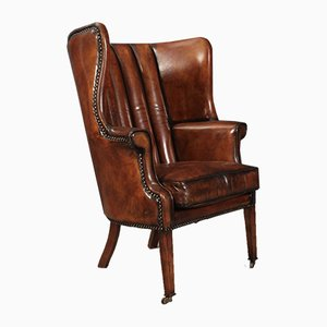 Leather Quilted Barrel Back Wing Chairs, 1920s, Set of 2