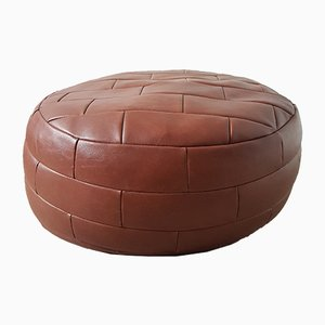 Vintage Round Brown Leather Patchwork Pouf, 1970s