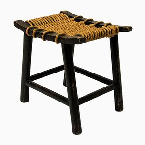 Vintage Norwegian Ropeseat and Oak Stool by Anne-Lise Aas